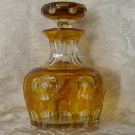 bottiglia cristallo boemaia gialla 001