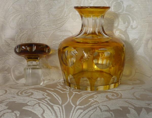 bottiglia cristallo boemaia gialla 005