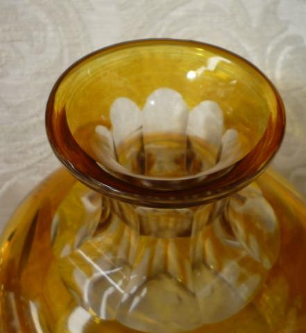 bottiglia cristallo boemaia gialla 006