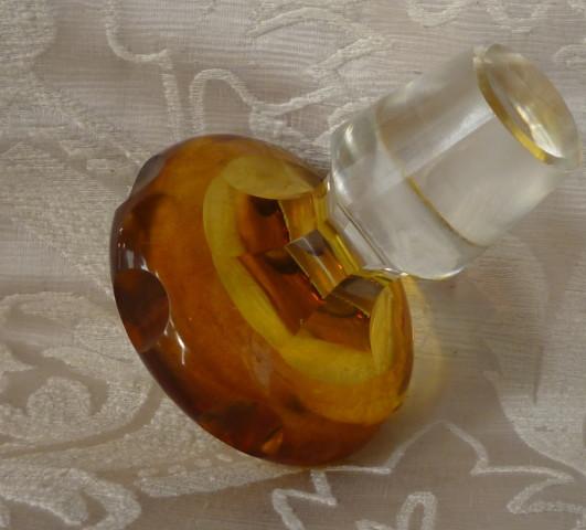 bottiglia cristallo boemaia gialla 007
