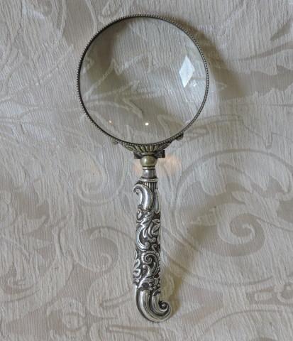 Antica lente di ingrandimento con manico d argento silver - Specchio con lente di ingrandimento ...